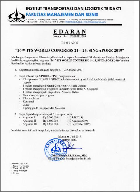 Edaran Congress Singapore (S1 Manajemen Fakultas Manajemen dan Bisnis)