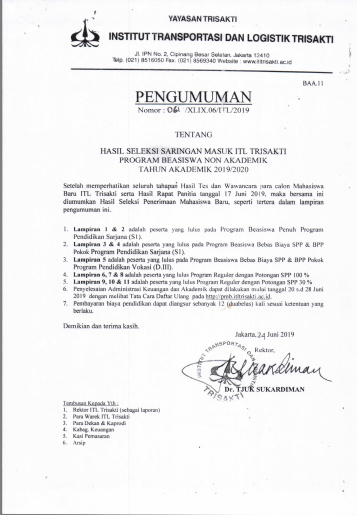 Hasil Seleksi Saringan Masuk ITL Trisakti Program Beasiswa Non Akademik Tahun Akademik 2019/2020