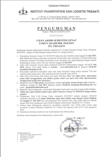 [Dosen] Pengumuman UAS Genap Tahun Akademik 2018/2019 ITL Trisakti