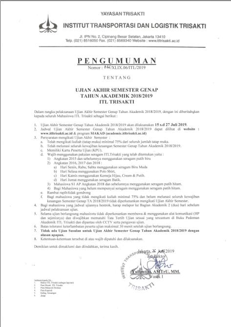 [Mhs] Pengumuman UAS Genap Tahun Akademik 2018/2019 ITL Trisakti